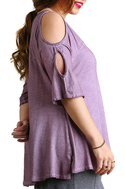 Mineral Washed Cold Shoulder Top, Mauve