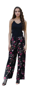Blooming Floral Tassel Pants, Black
