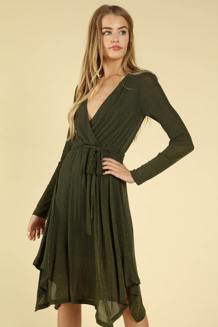 Shimmering Long Sleeve Wrap Dress, Olive
