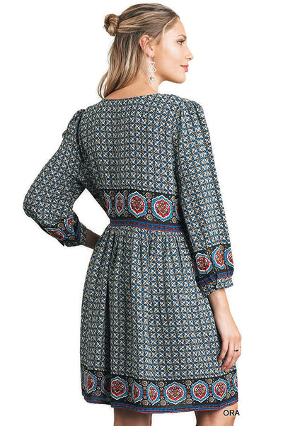 Border Print Peasant Dress, Orange Mix
