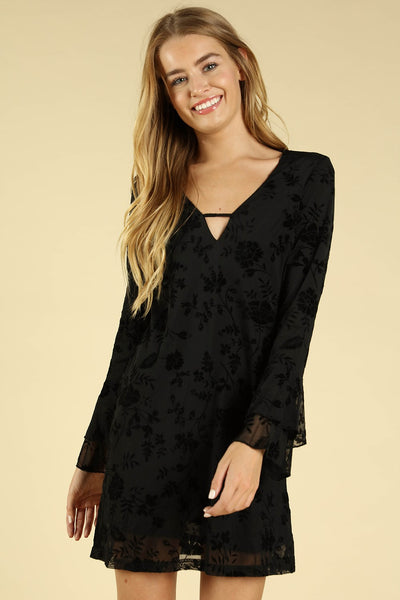 Floral Velvet Burnout Dress, Black