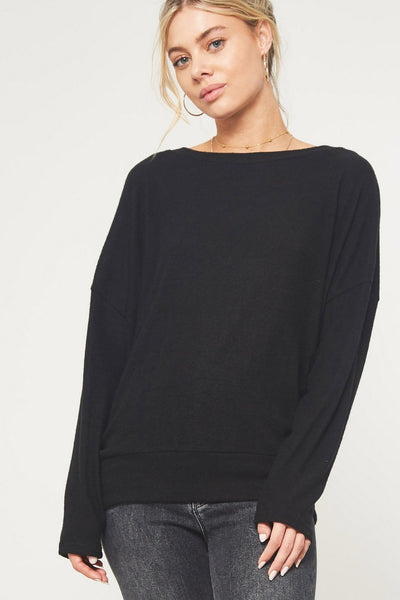 Open Back Brush Knit Top, Black