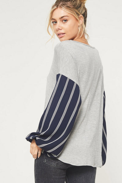 Sunday Funday Stripe Print Sleeve Top, Grey & Navy