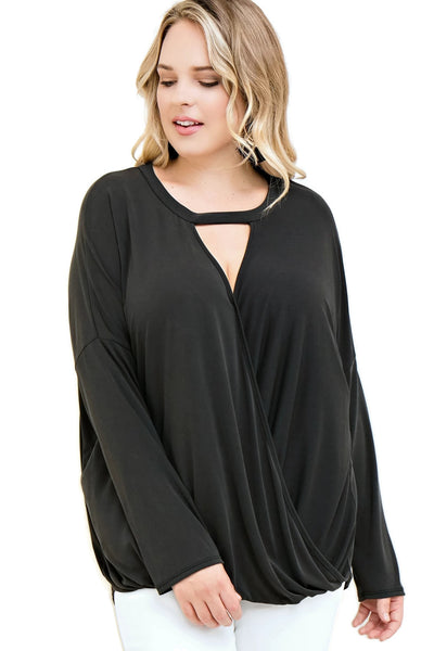 Keyhole Wrap Top, Black