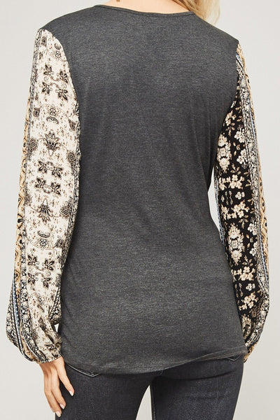 Floral Sleeve Wrapped Knit Top, Charcoal