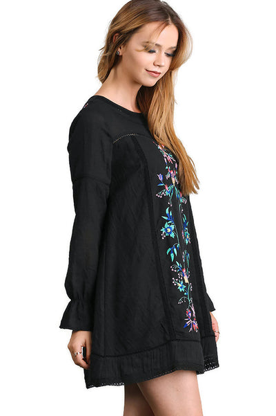 Floral Embroidered Long Sleeve Dress, Black