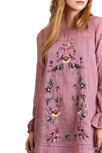 Floral Embroidered Long Sleeve Dress, Mauve