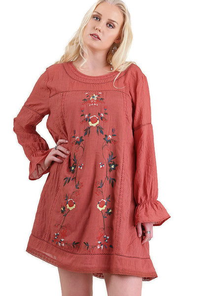 Floral Embroidered Long Sleeve Dress, Rust