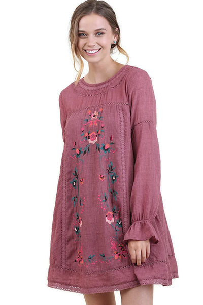 Floral Embroidered Long Sleeve Dress, Wine