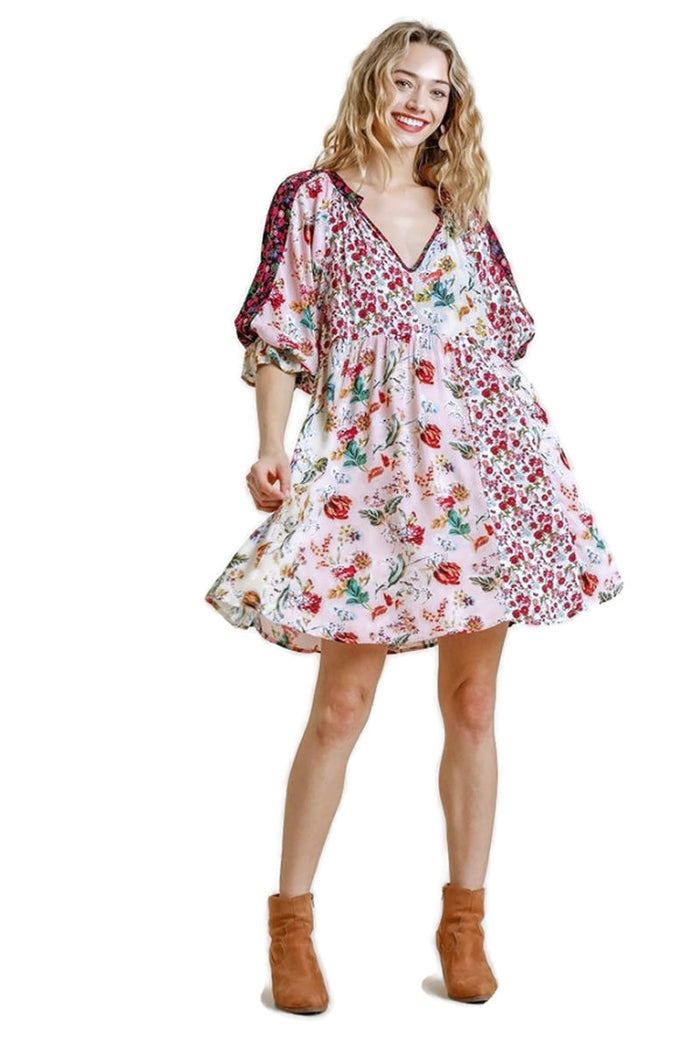 umgee usa Mixed Floral Puff Sleeve Dress