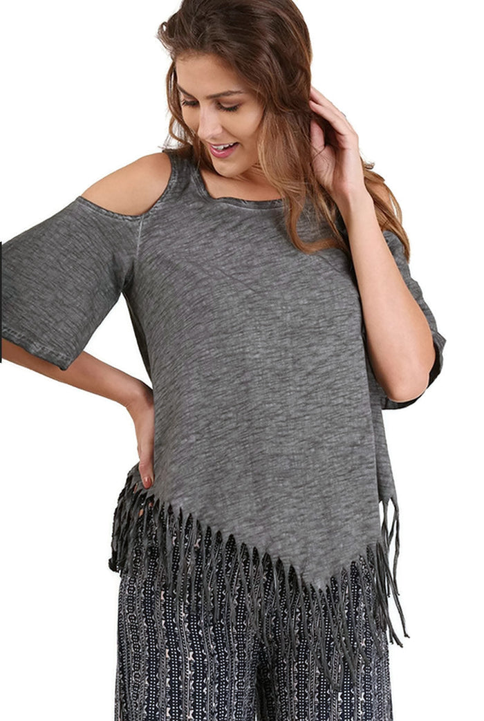 On the Fringe Top, Grey
