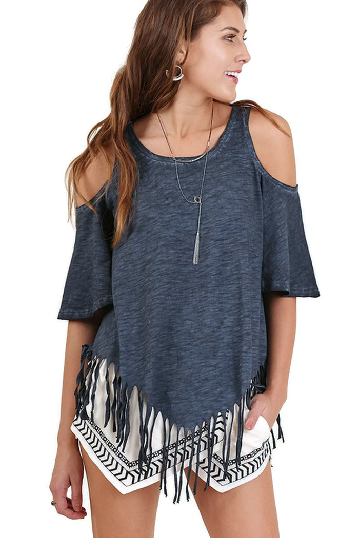 On the Fringe Top, Navy