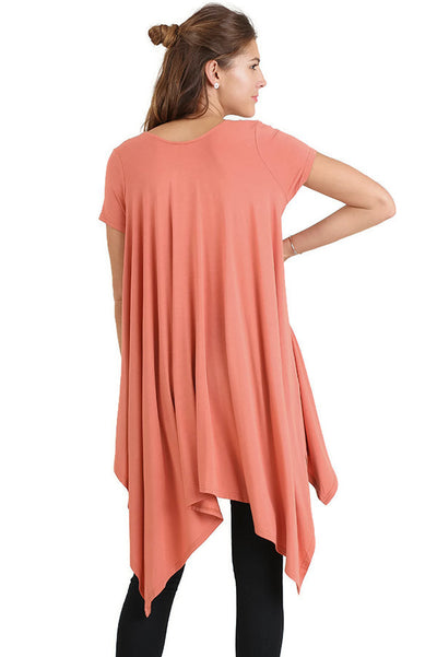 Handkerchief Hem Short Sleeve Tunic Top, Clay