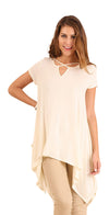 Handkerchief Hem Short Sleeve Tunic Top, Cream