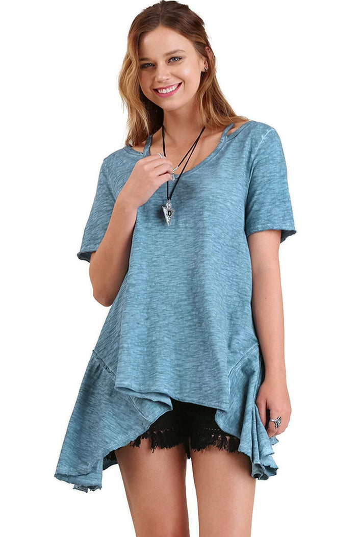 Split Shoulder Tunic, Blue