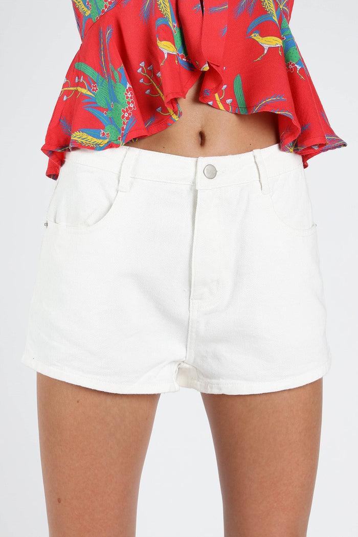Be the Star High Waist Denim Shorts, White