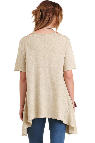 Mineral Washed Split Shoulder Tunic, Taupe