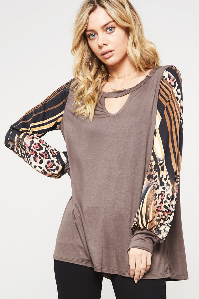 Striped & Leopard Keyhole Top, Brown