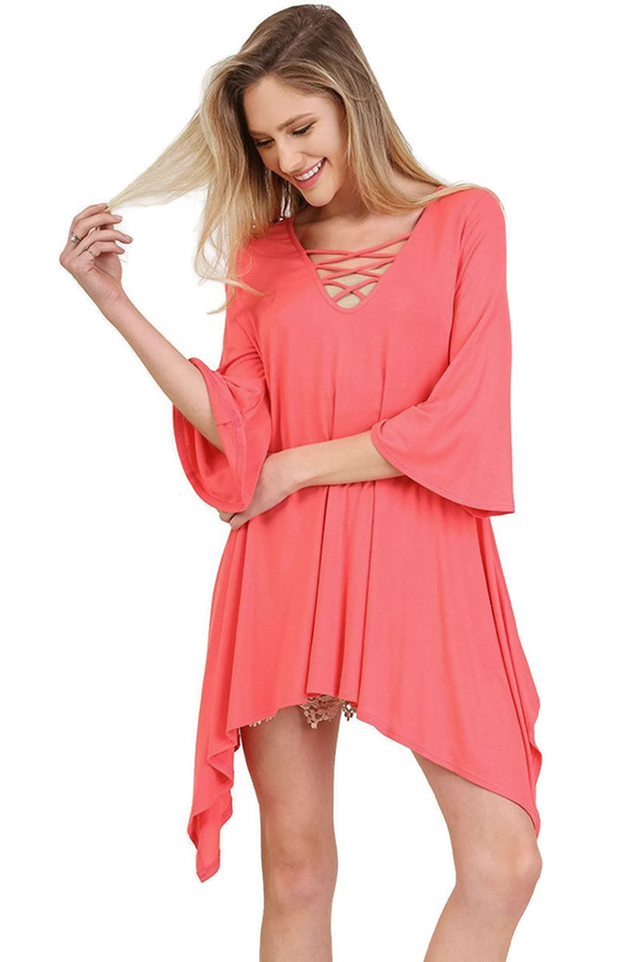Crossed Bell Sleeve Asymmetrical Tunic, Coral