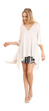 Crossed Bell Sleeve Asymmetrical Tunic, Ivory