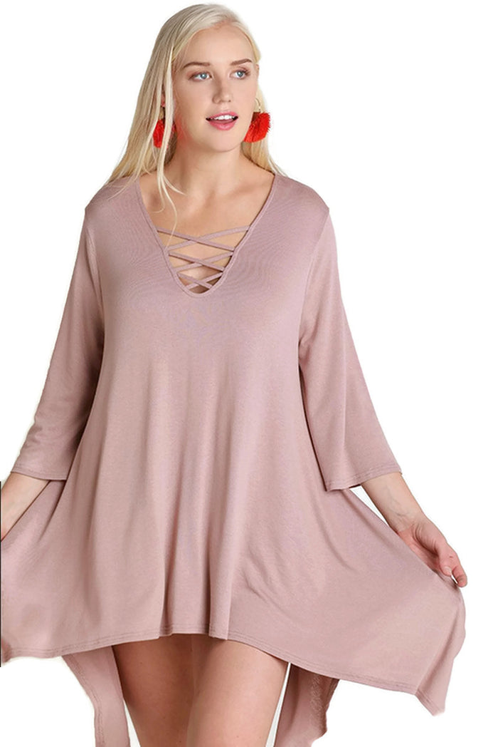 Crossed Bell Sleeve Asymmetrical Tunic, Mauve