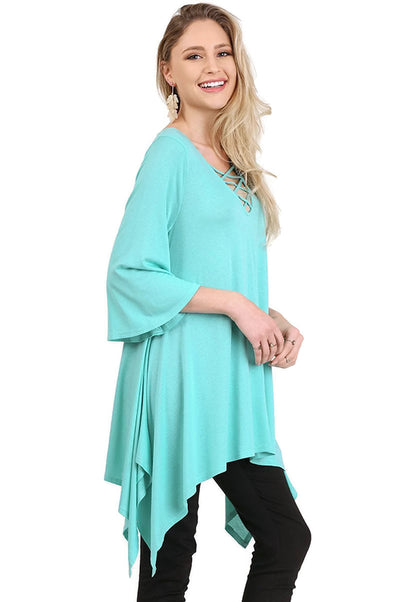 Crossed Bell Sleeve Asymmetrical Tunic, Mint