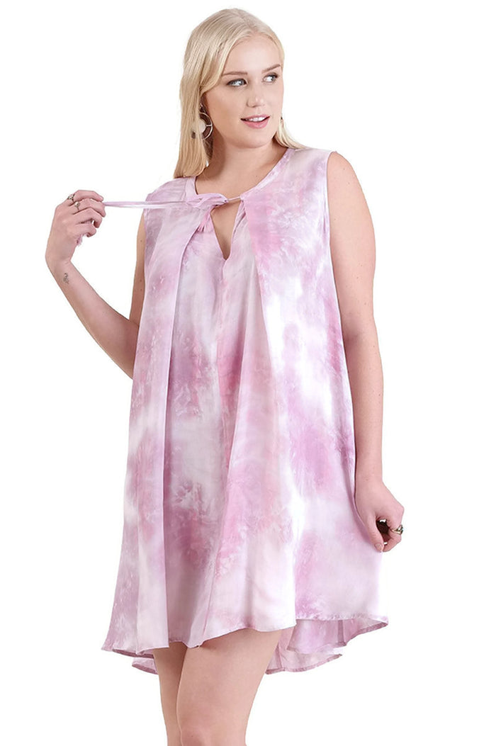 Tie Dye Sleeveless Keyhole Dress, Purple Mix