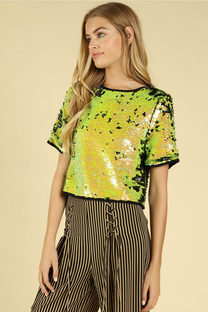 Party Scene Sequin Top, Caution Yellow