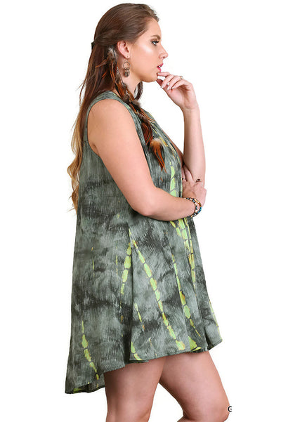 Tie Dye Sleeveless Keyhole Dress, Green