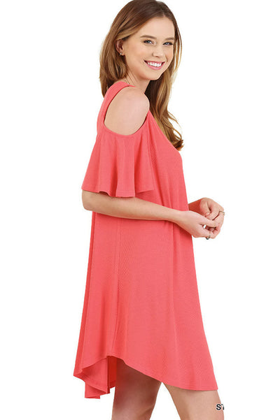 Cold Shoulder Butterfly Sleeve Dress, Strawberry