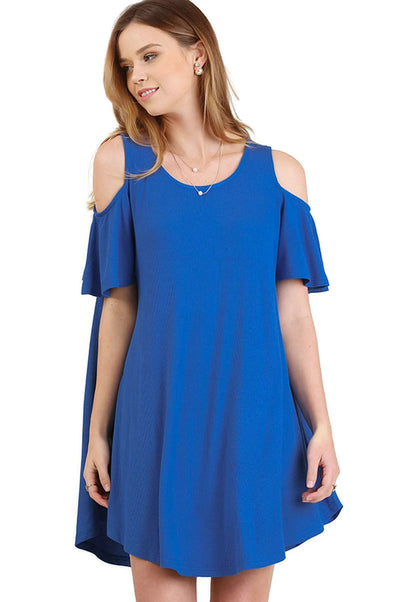 Cold Shoulder Butterfly Sleeve Dress, Cobalt Blue