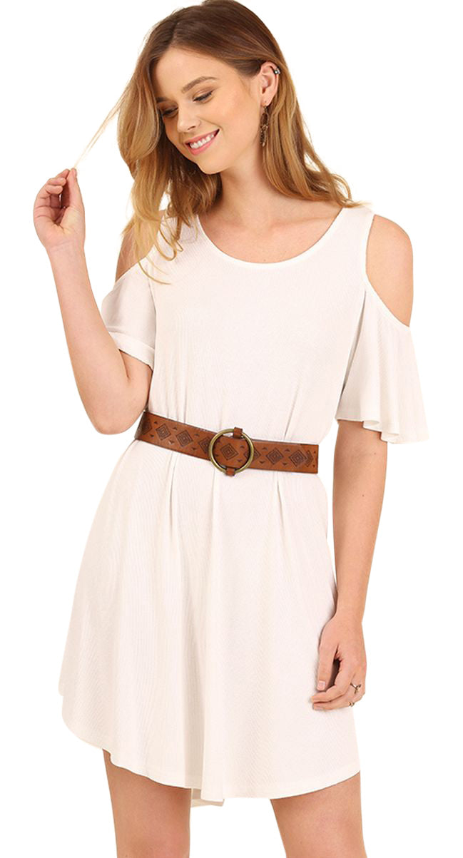Cold Shoulder Butterfly Sleeve Dress, Cream