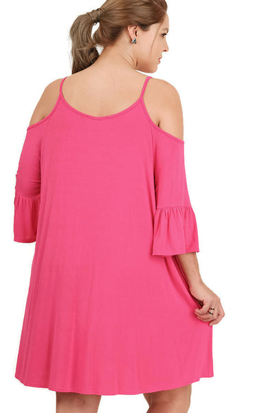 Open Shoulder Ruffle Sleeve Dress, Hot Pink