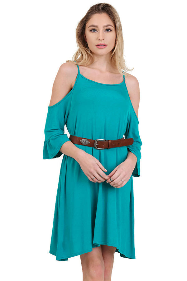 Open Shoulder Ruffle Sleeve Dress,  Jade