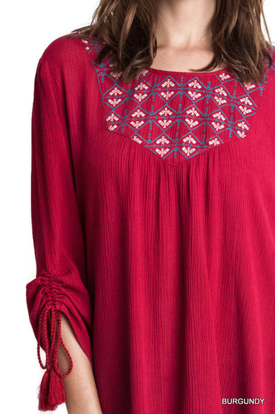Embroidered Baby Doll Top,  Burgundy
