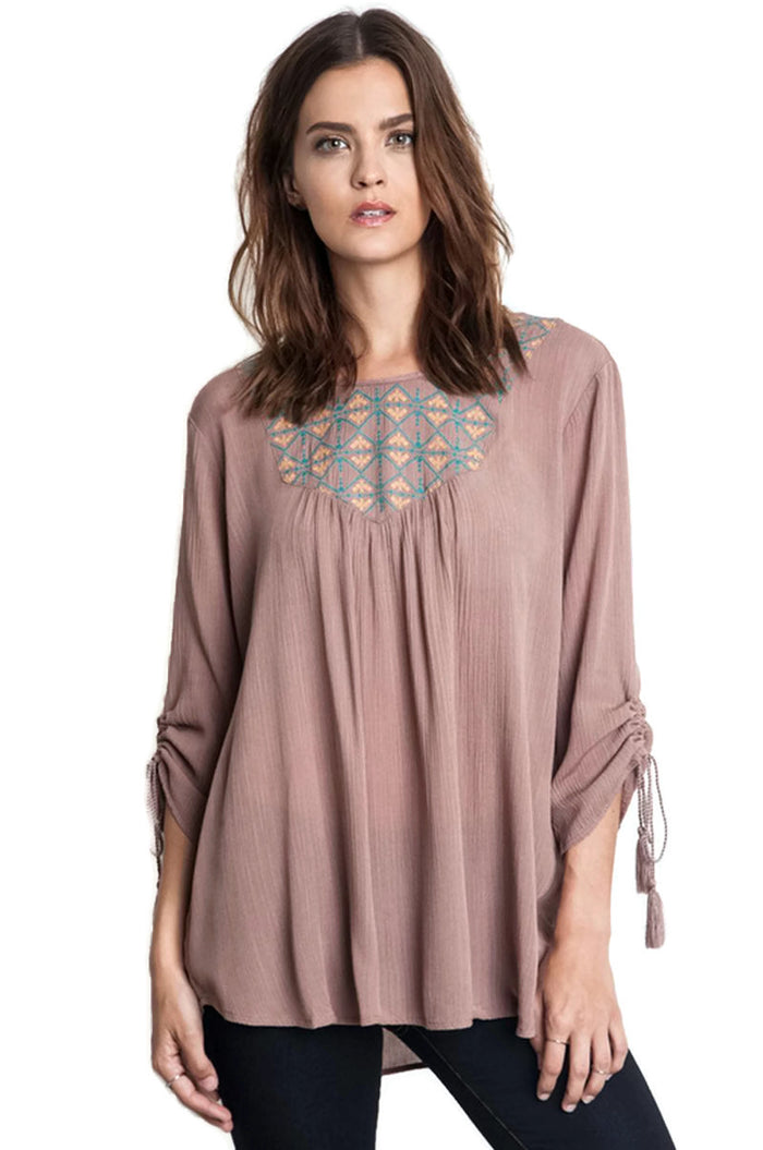 Embroidered Baby Doll Top, Taupe
