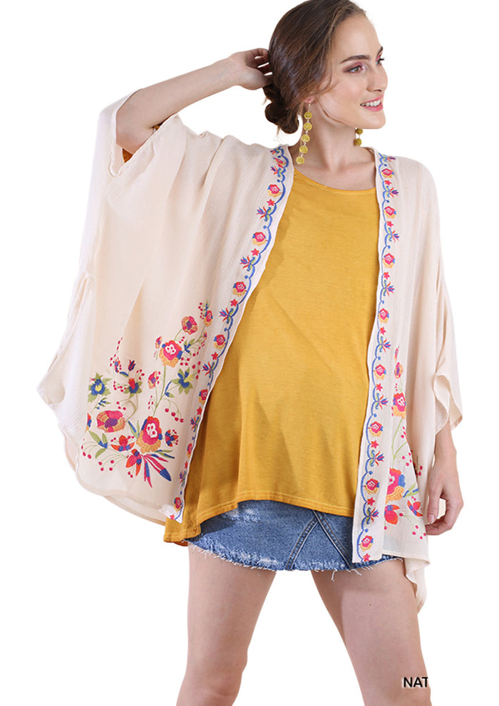 Floral Embroided Kimono, Natural