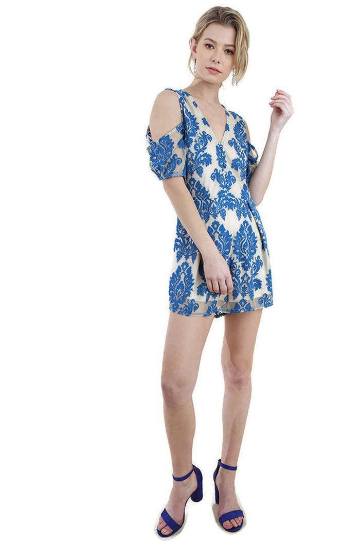 Floral Embroidered Cold Shoulder Romper, Cobalt