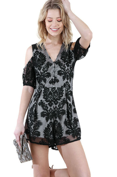 Floral Embroidered Cold Shoulder Romper, Black