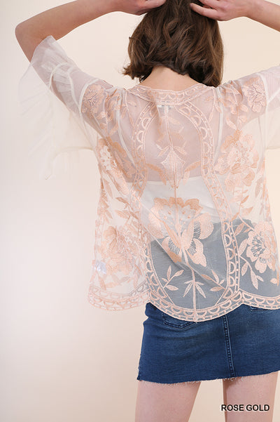 Embroidered Ruffled Sheer Lace Top, Rose Gold