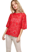 Crochet Lace Applique Top, Red