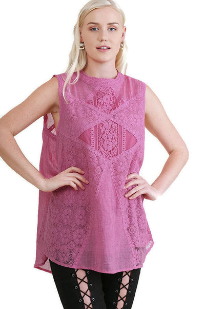 Lace Detail Sleeveless Top, Pink