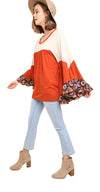 Ruffled Bell Sleeve Colorblock Top, Rust