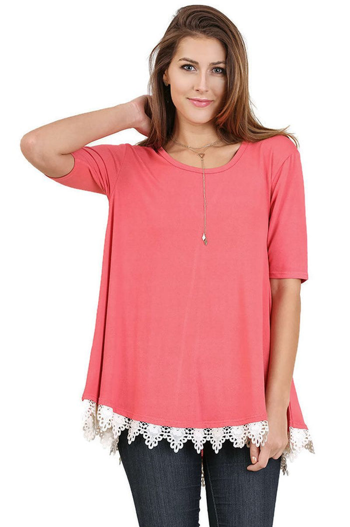 Crochet Lace Up Drawstring Tunic, Coral