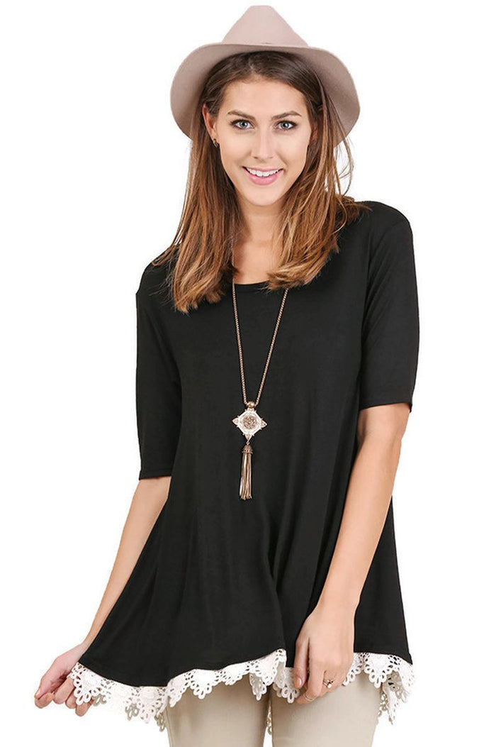 Crochet Lace Up Drawstring Tunic, Black