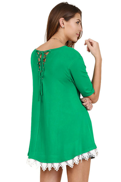 Crochet Hem Lace Up Drawstring Back Tunic, Green