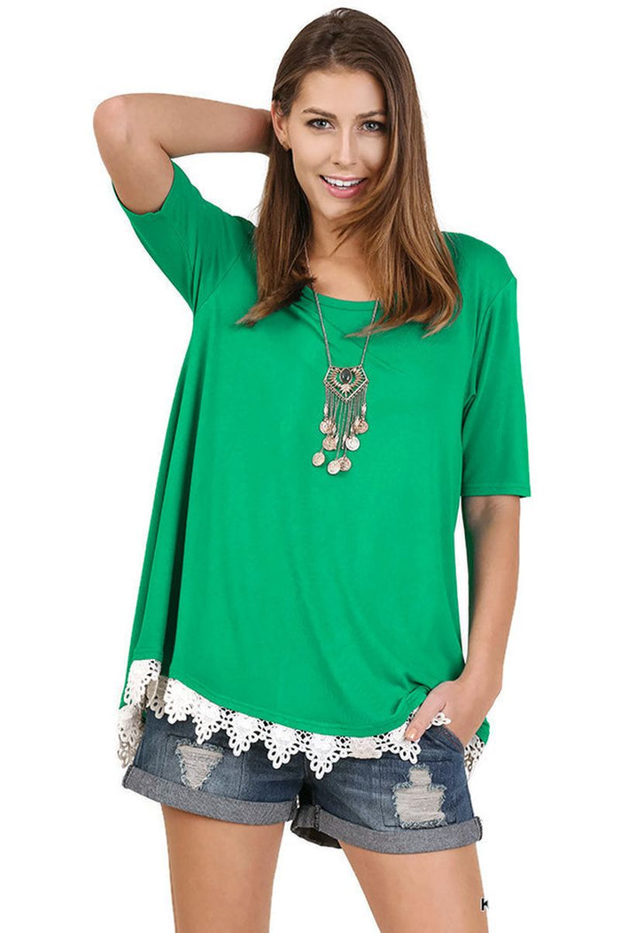 Crochet Lace Up Drawstring Tunic, Green