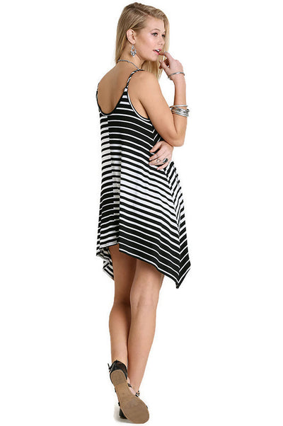 Striped Hi Lo Tunic Tank, Black & White