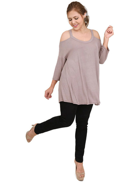 Cold Shoulder High Low Tunic, Mocha