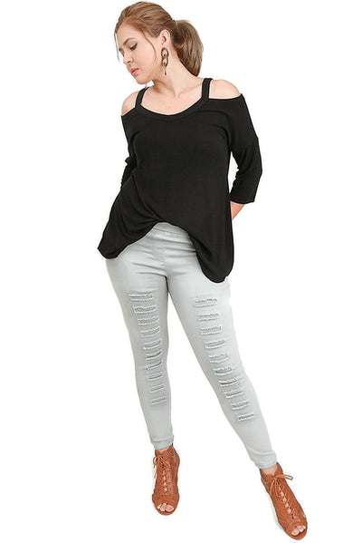 Cold Shoulder High Low Tunic, Black